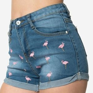 runway paris Shorts - Denim Flamingo Shorts
